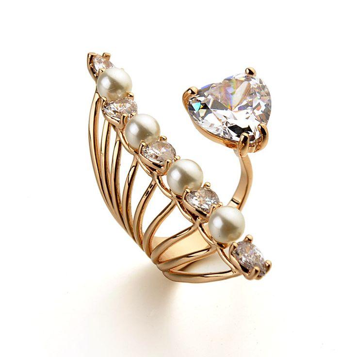 Модный дизайн павлин распускает хвост кольцом с бесплатным размера, популярные циркон с жемчугом opne кольцо для девочек