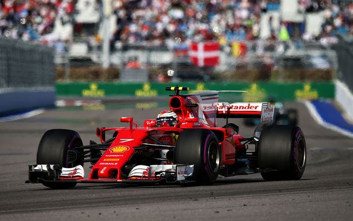 Download wallpapers Kimi Raikkonen, Ferrari SF70-H, Formula 1, racing car, F1, Scuderia Ferrari