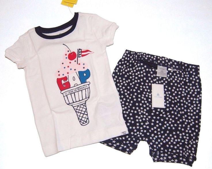 Baby Gap Boys Girls Fourth of July Politics Ice Cream Short Pajamas PJs NEW NWT #babyGap #TwoPiece #icecream