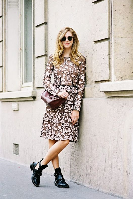We adore this outfit on @Isabelle Chiara Ferragni // floral dress + combat boots + sunnies