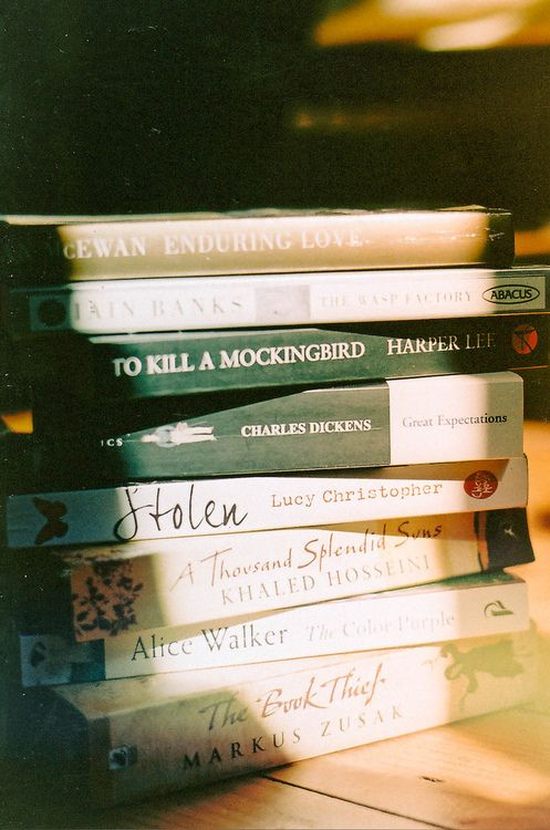 Enduring Love by Ian McEwan, The Wasp Factory by Iain Banks, To Kill a Mockingbird by Harper Lee, Great Expectations by Charles Dickens, Stolen by Lucy Christopher, A Thousand Splendid Suns by Khaled Hosseini, The Color Purple by Alice Walker, The Book Thief by Markus Zusak
