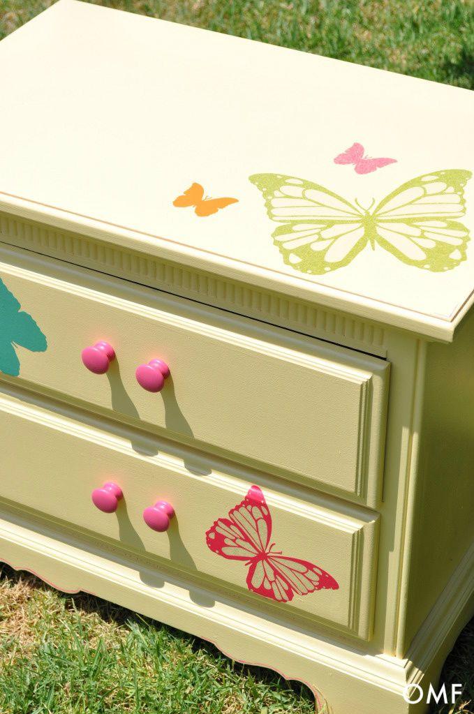 Adorable nightstand. Butterfly vinyl decals - love!