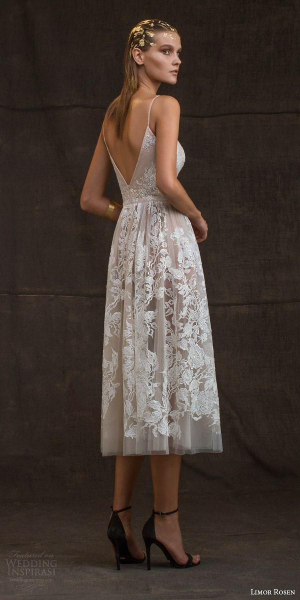 limor rosen bridal 2016 treasure grace wedding dress sleeveless spaghetti straps lace floral blush tulle knee length skirt low back view