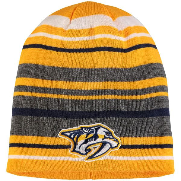 130ea306b49 Men s Nashville Predators adidas Gold Jacquard Striped Knit Beanie ...