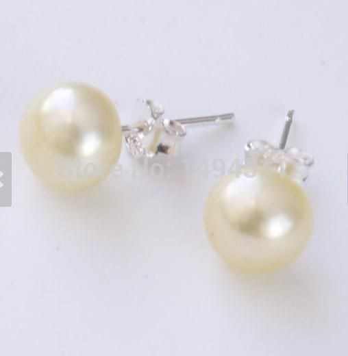 Wholesale Pearl Jewelry, Lemon Yellow Color 8mm Genuine Freshwater Pearl Stud Earrings, 925 Sterling Silver Post, Christmas Gift-in Stud Earrings from Jewelry & Accessories on Aliexpress.com | Alibaba Group