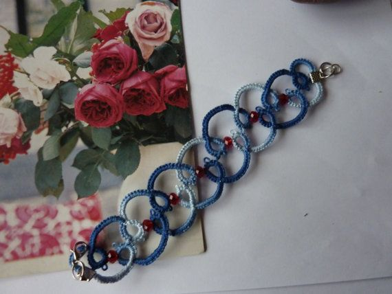 Blue romance - tatted bracelet in blue with red beads on Etsy, $13.80
