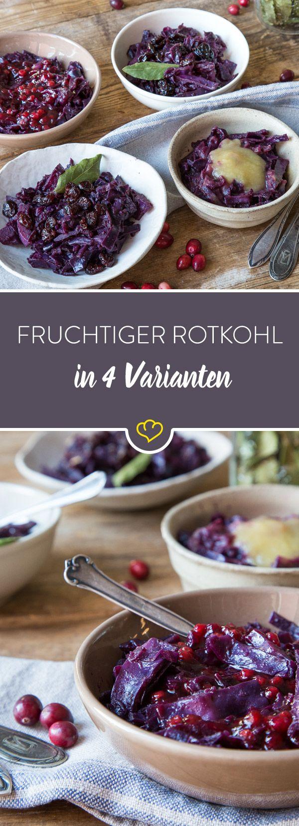 Nie wieder langweiliger Rotkohl: Mit Apfelmus, Preiselbeeren, getrockneten Kirschen oder Cranberries wird dein Blaukraut immer extra fruchtig und lecker.