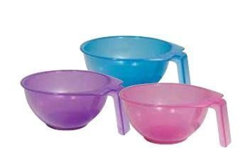Soft'N Style Stackable Color Bowl (Single piece, Assorted Colors). Variation Attributes: Size (Pack of 1). Translucent stackable hair color bowl features an easy grip handle. A space saver with multiple bowls.