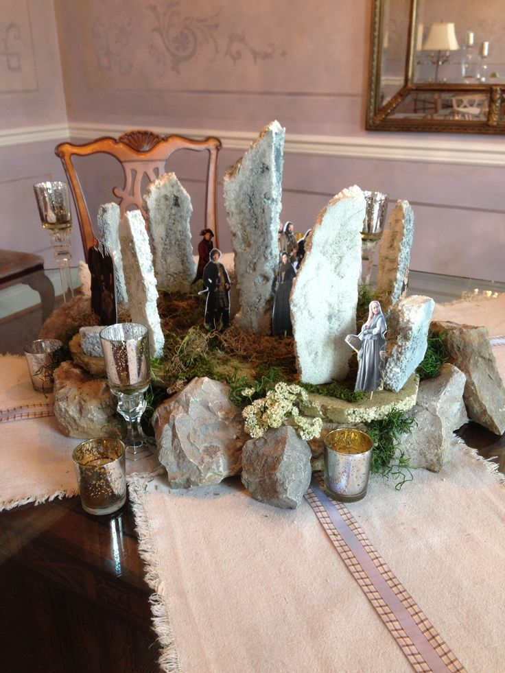 My Outlander premiere party centerpiece, made from styrofoam, moss and real rocks