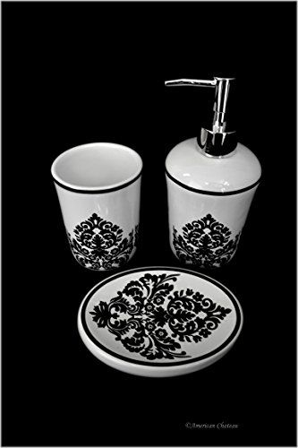 3pc Black And White Damask Pattern Ceramic Bath Bathroom Accessory Set  American Chateau Http:/