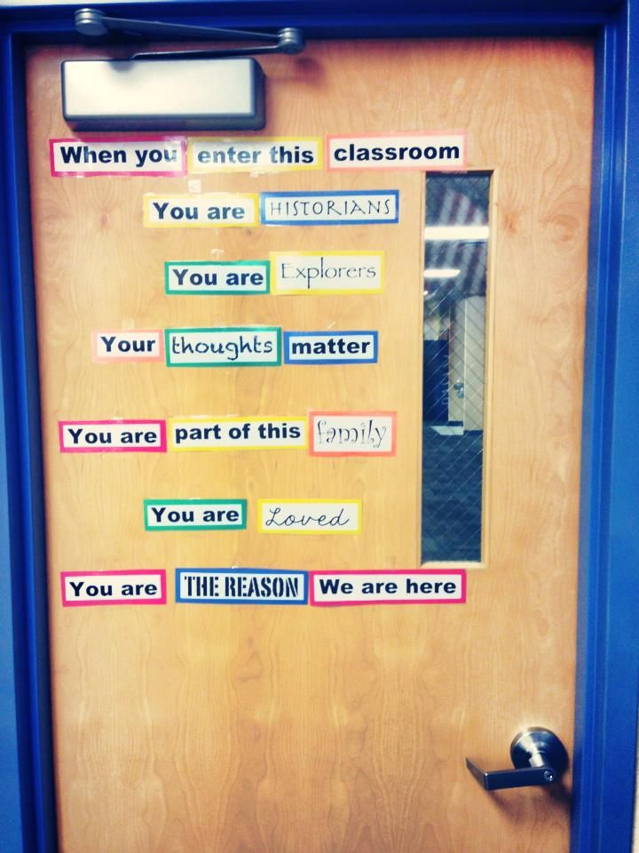 Love this for a middle school classroom door!