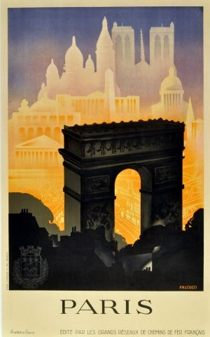 Paris, 1930s - original vintage poster by Robert Falcucci listed on AntikBar.co.uk