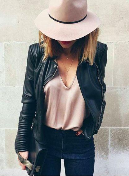 Blush + leather.
