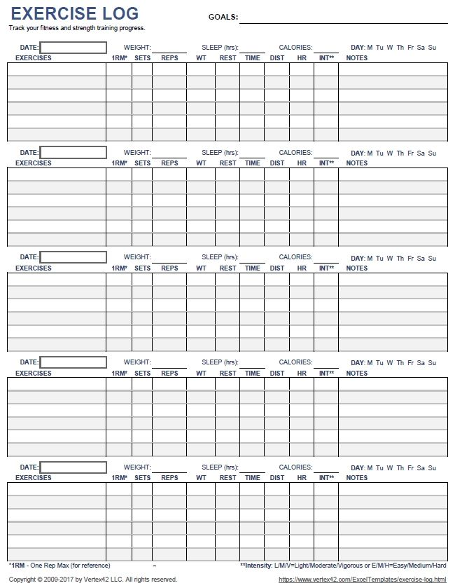 Free Printable Exercise Log And Blank Exercise Log Template ...