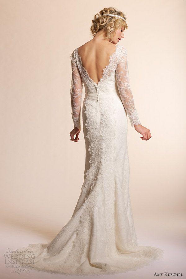amy kuschel 2013 long sleeve wedding dresses dahlia lace gown back view train