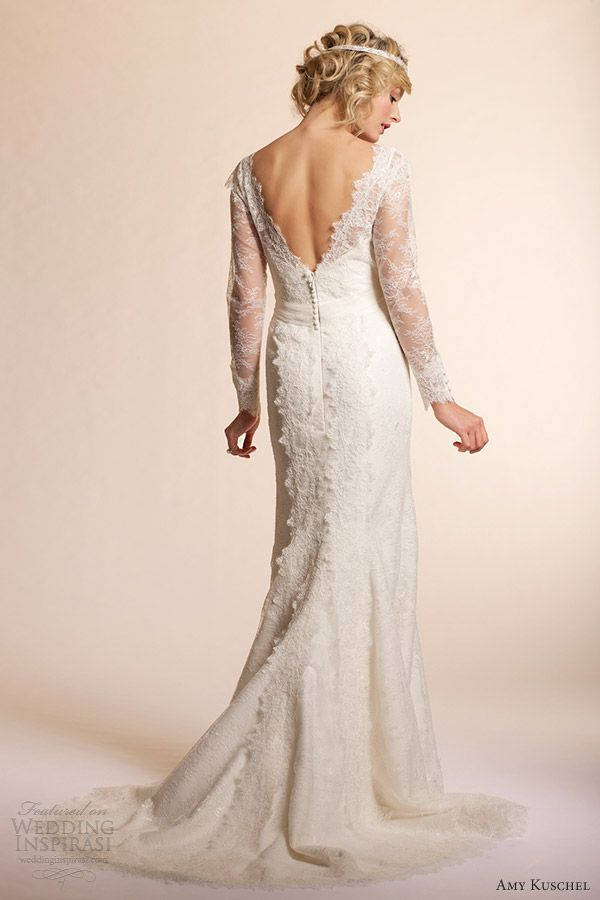 amy kuschel 2013 long sleeve wedding dresses dahlia lace gown back view train