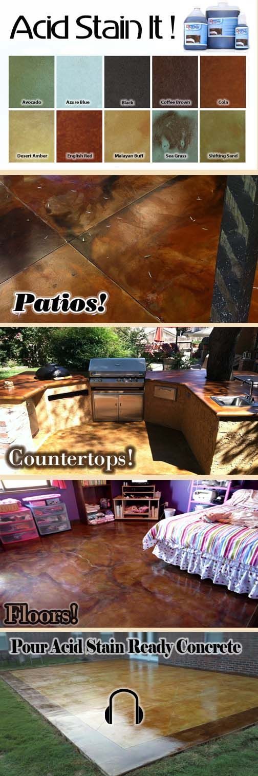 When in doubt just Acid Stain It! Find out all the ways you can acid stain concrete in this week's Design News! #acidstaining #floors #countertops #patio #DIY #newsletter