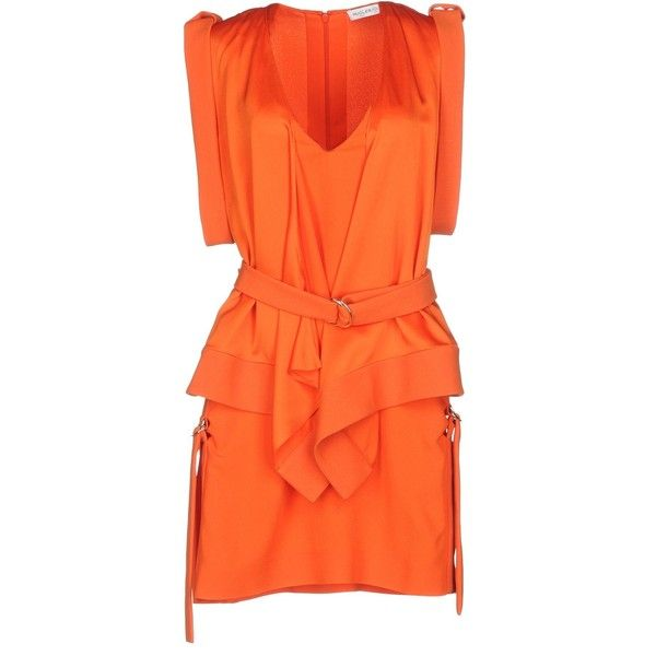 Orange V-Neck Short Dress