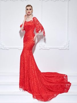0d5a8b06c0eff Cute Mermaid Scoop 3-4 Length Sleeves Lace Court Train Evening Dress I love  this dress. And You?