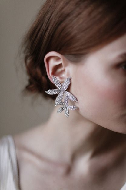 Orchid Cascade Earring, Swarovski crystal clip on earrings. Hand made in New York City.