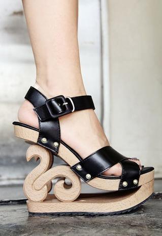 Carved wedge heel sandal