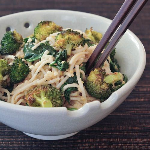 gingered sesame-coconut udon with roasted broccoli