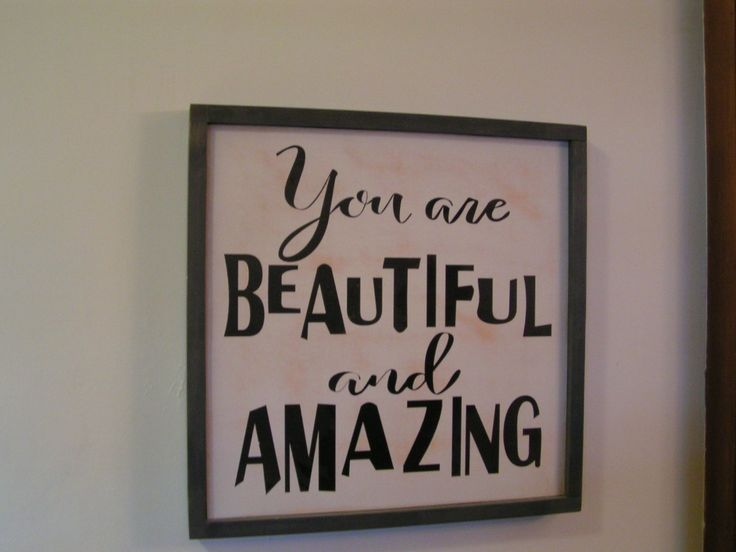 """20"""" x 20"""" Framed Hand Painted Wood Sign You are Beautiful and Amazing 