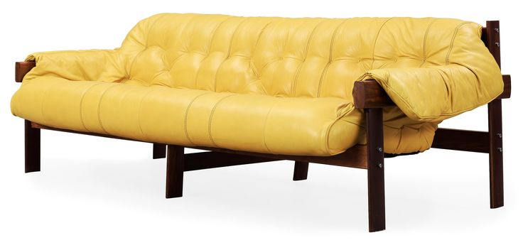 A Percival Lafer palisander and yellow leather sofa, Lafer MP, Brasil 1970's.