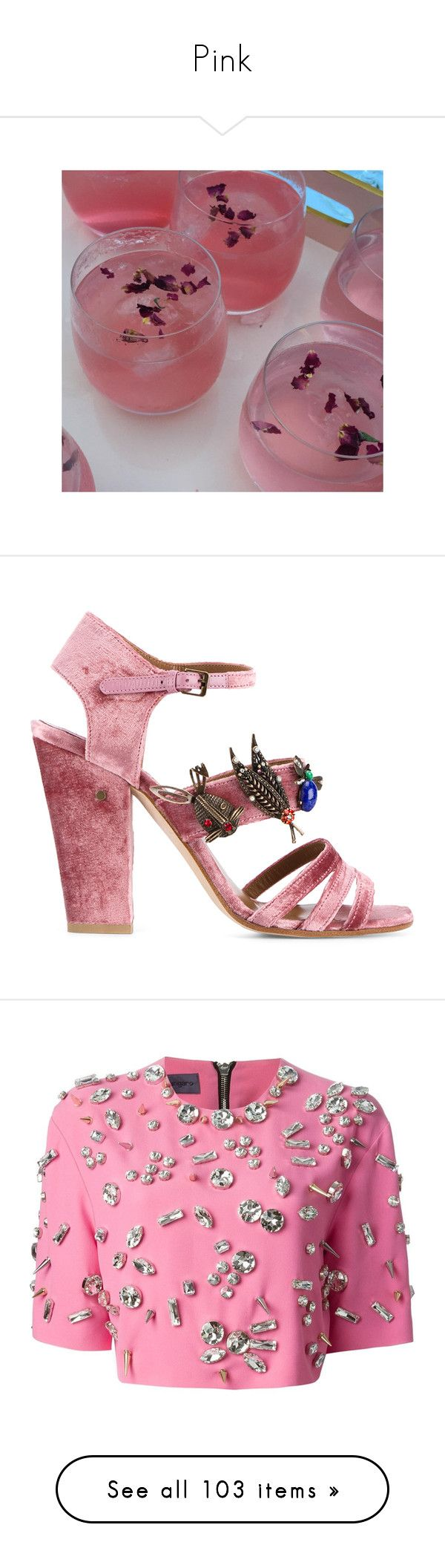 """""""Pink"""" by aaegia ❤ liked on Polyvore featuring Topshop, Laurence Dacade, shoes, sandals, pink sandals, strappy sandals, strappy high heel sandals, pink high heel sandals, multi color sandals and tops"""