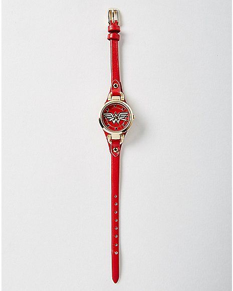Skinny Strap Wonder Woman Watch - Spencer's