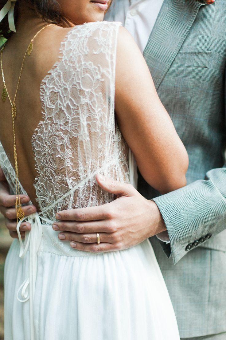 LA POÉSIE// CORALIE lace wedding dress/ A Bohemian Romance Shoot/ Festival Brides/ Secret Woodland in Kent