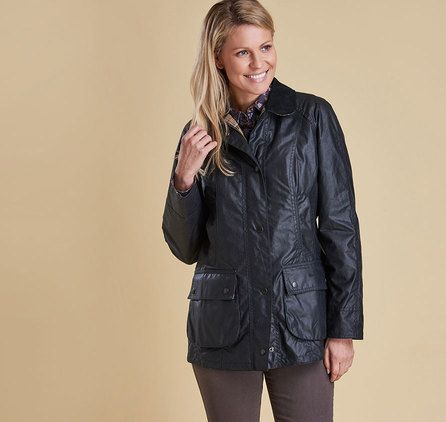 BARBOUR BEADNELL WAX JACKET – Navy – Womens. Barbour Womens Wax Jacket, Barbour Womens Jacket with Hood, Barbour Jacket Sale