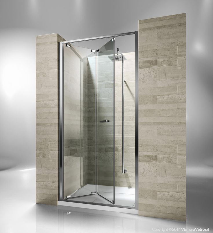 Framed shower enclosure with folding door. Reversible and extensible 6 cm in recess. Junior GN is incredibly versatile and suitable to solve multiple installation situations. The door can be easily released for the cleaning and maintenance of the shower unit. Shower enclosures Junior by @vismaravetro | GN