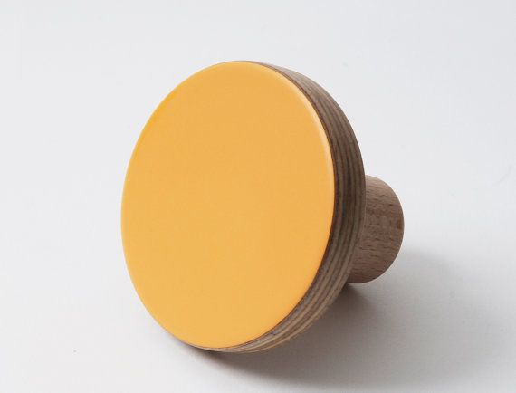 Wooden colourful knob, for cabinets, kitchen cupboard doors, orange