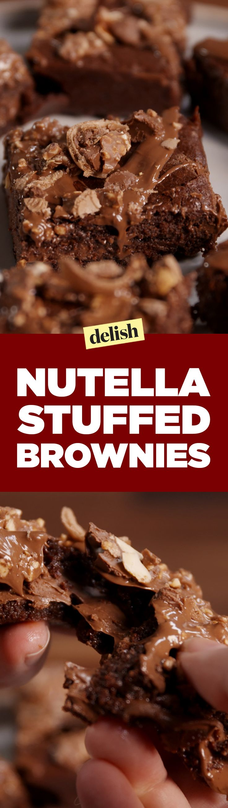 These Nutella-stuffed brownies will get you chocolate wasted. Get the recipe on Delish.com.