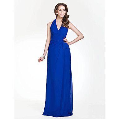 Bridesmaid Dress Floor-length Chiffon Sheath/Column Halter/V-neck Dress – USD $ 89.99