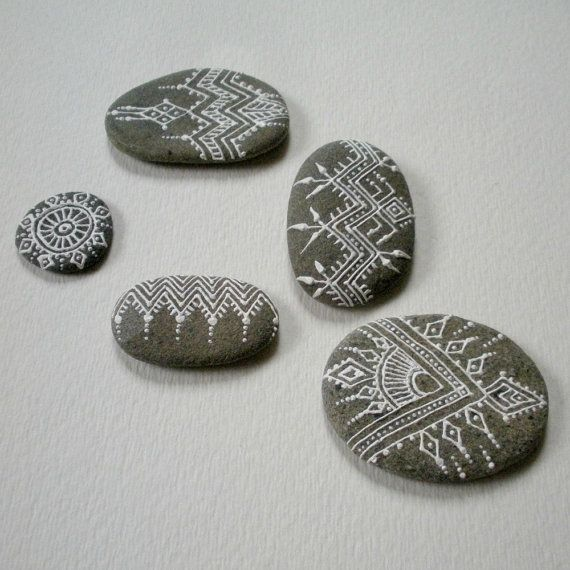 ikat painted pebbles cluster of 5 by HennaTrails on Etsy, $23.99