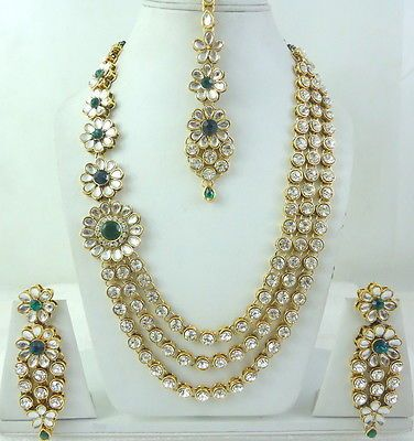 GREEN CZ KUNDAN GOLD TONE INDIAN BOLLYWOOD BRIDAL NECKLACE JEWELRY SET 5 PCS