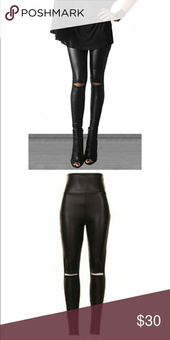 """coming soonHigh waisted Leather  Leggings Available next week, like to be notified!! Black leather leggings with slits at the knees for added style, so cute!! Also high waisted to keep everything """"in place"""" if you will :) not nasty gal listed for exposure price is firm no trades :) Nasty Gal Pants Leggings"""