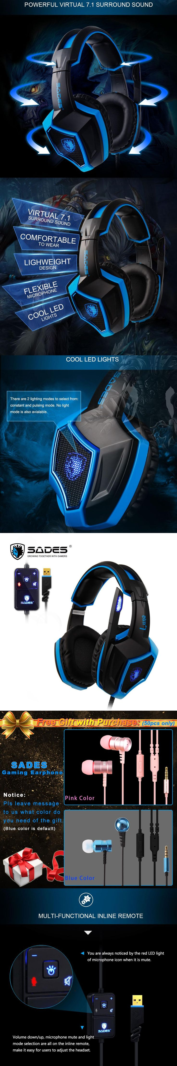 SADES LUNA Virtual 7.1 Surround Sound headphones Rotatable Microphone Multifunctional In-line Remote Headset for Gamer