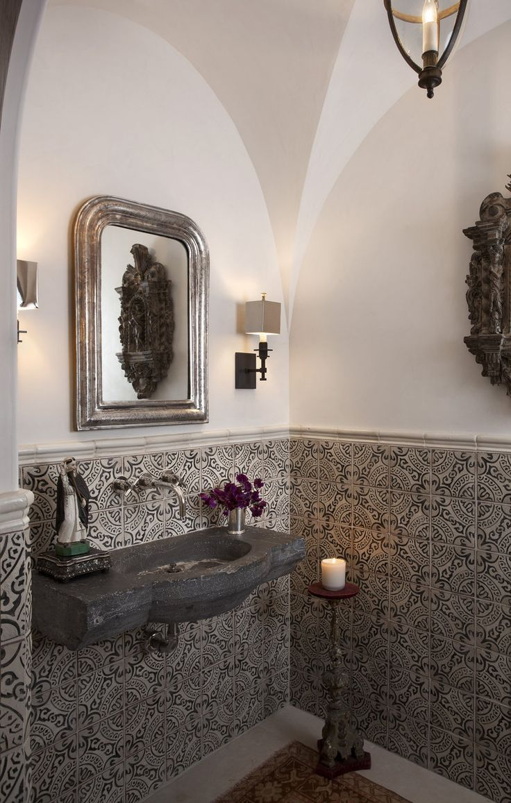 Don't be afraid to go bold with a graphic cement tile. Beautifully done!