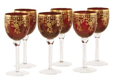 Golden Stem Ware Arabella Ornate Red Gold Wine Glass