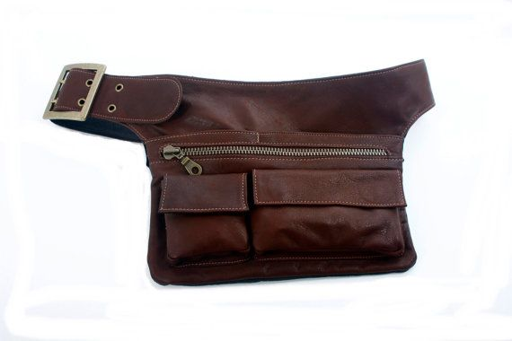 Brown Leather Hip Bag bum bag fanny pack travel pouch belt