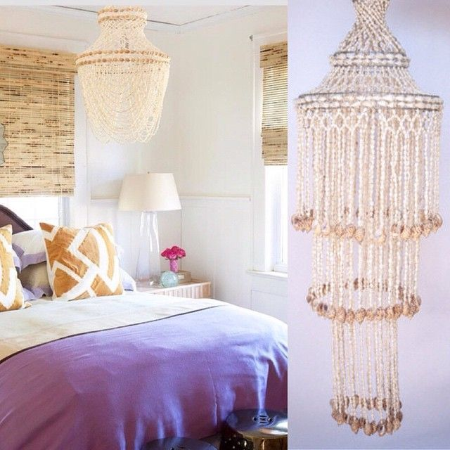 We are loving this light, bright bedroom featuring a lovely shell chandelier. Our shell chandeliers can be found in our 'shell art' collection and are $149.