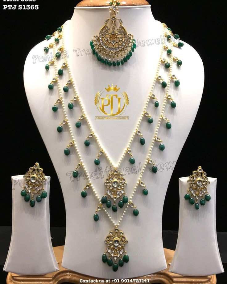 "Punjabi Traditional ""Gold Plated Kundan Emerald Long Set with Tika""(Next to…"