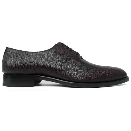 Zapato oxford enterizo wholecut piel grabada color cordoban burdeos Cordwainer vista lateral