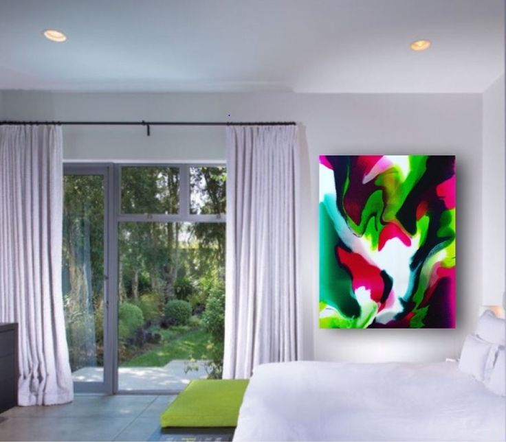 150cm x 100cmMixed Media Resin on CanvasMagentaLime GreenPhthalo GreenWhite**Free delivery to Perth Metro and Mandurah**