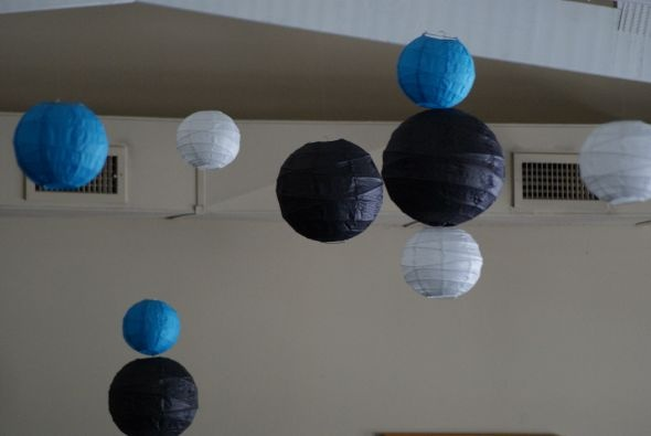 Turqouise Blue, Black, Ivory Paper Lanterns For Sale :  wedding black blue ivory malibu paper lantern reception turquoise Picture 007