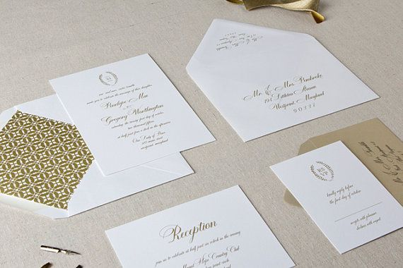 Melody Wedding Invitation in Antique Gold  SAMPLE  by ChelseyEmery, $5.00