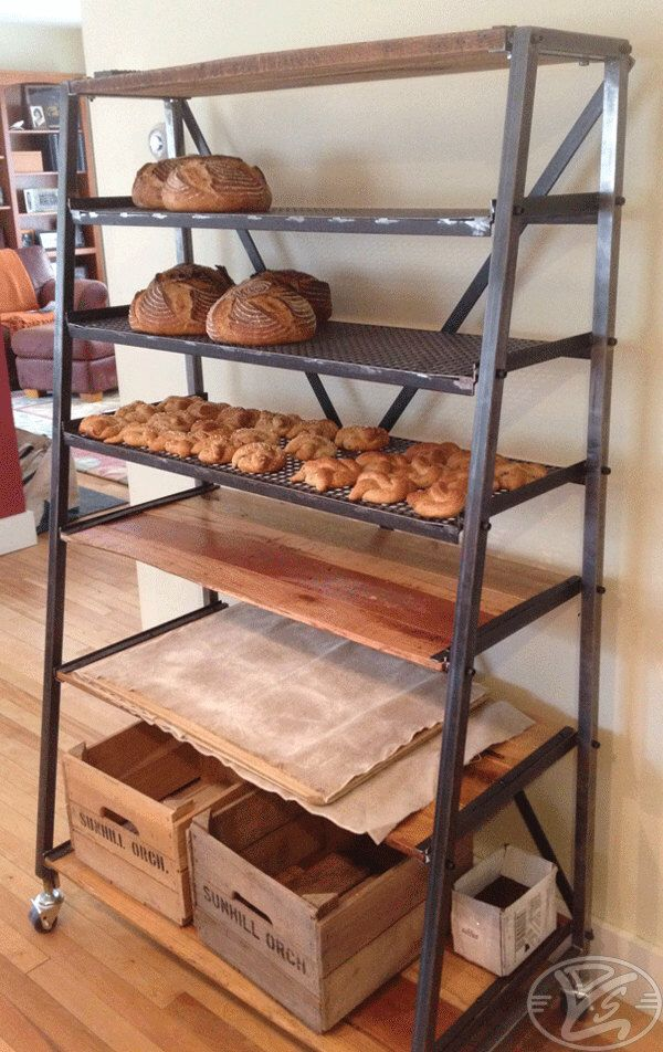 Shelving Unit / Bakers Rack / Drying Cooling Rack  - Reclaimed Hardwood Mesh Shelves & Tubular Steel Raw Finish Industrial Style by Ydsgns on Etsy https://www.etsy.com/listing/199070147/shelving-unit-bakers-rack-drying-cooling